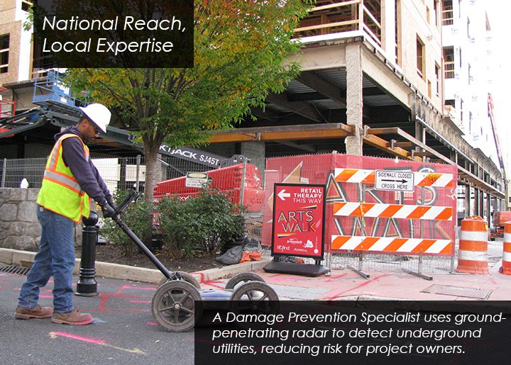 Damage prevention specialists find underground utilities and reduce project risk.
