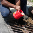 Dumping paint into a storm drain is harmful to the environment