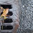 A stormwater drain with rainwater running down